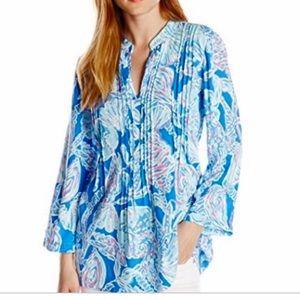 Lilly Pulitzer Sarasota pink & blue tunic top
